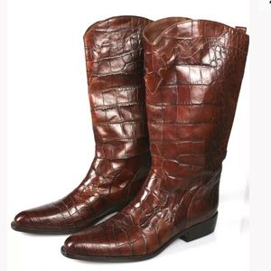 JOAN & DAVID Handmade Leather Cowboy Boots Sz 40